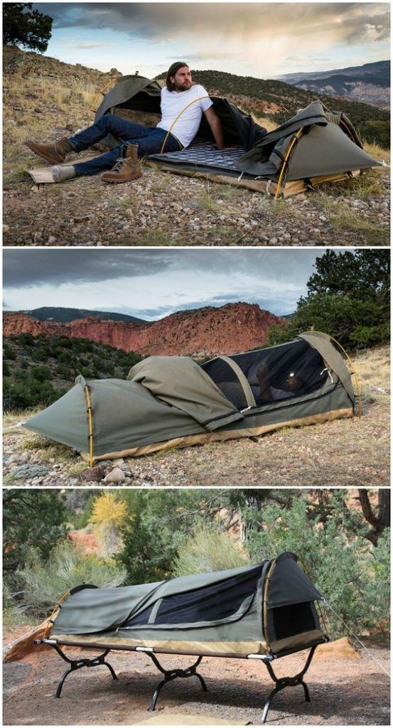 Photo of 1-Person Canvas Swag Tent with Sleeping Pad – Total Survival