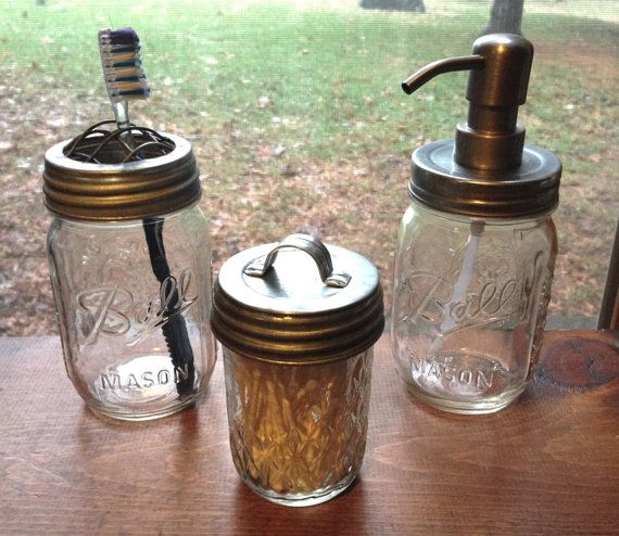 3pc mason jar bathroom set, silver galvanized metal - toothbrush