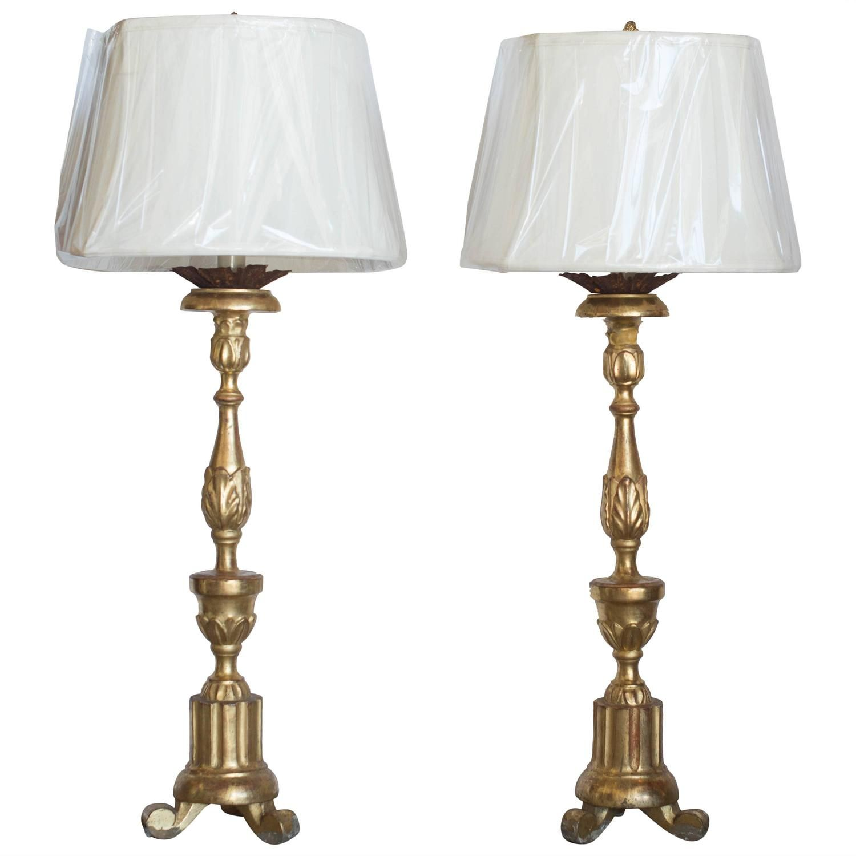 Pair Of 18th Century Italian Giltwood Candlestick Lamps Candlestick Lamps Lamp Candlesticks