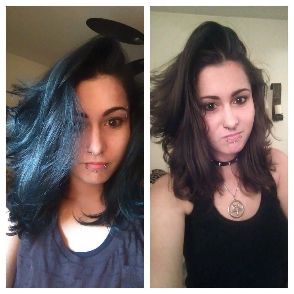Dyed My Virgin Brown Hair With Manic Panic After Midnight And I Love It It Looks Black Until The Light Light Hair Color Manic Panic Hair Dye Dyed Hair Blue