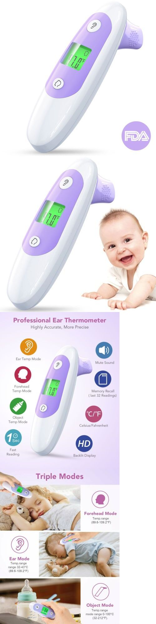 OKWINT Digital Medical Infrared Fever 4 in 1 Baby Ear and Forehead Thermometer