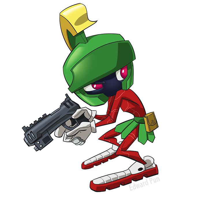 Marvin The Martian Gun Drawing