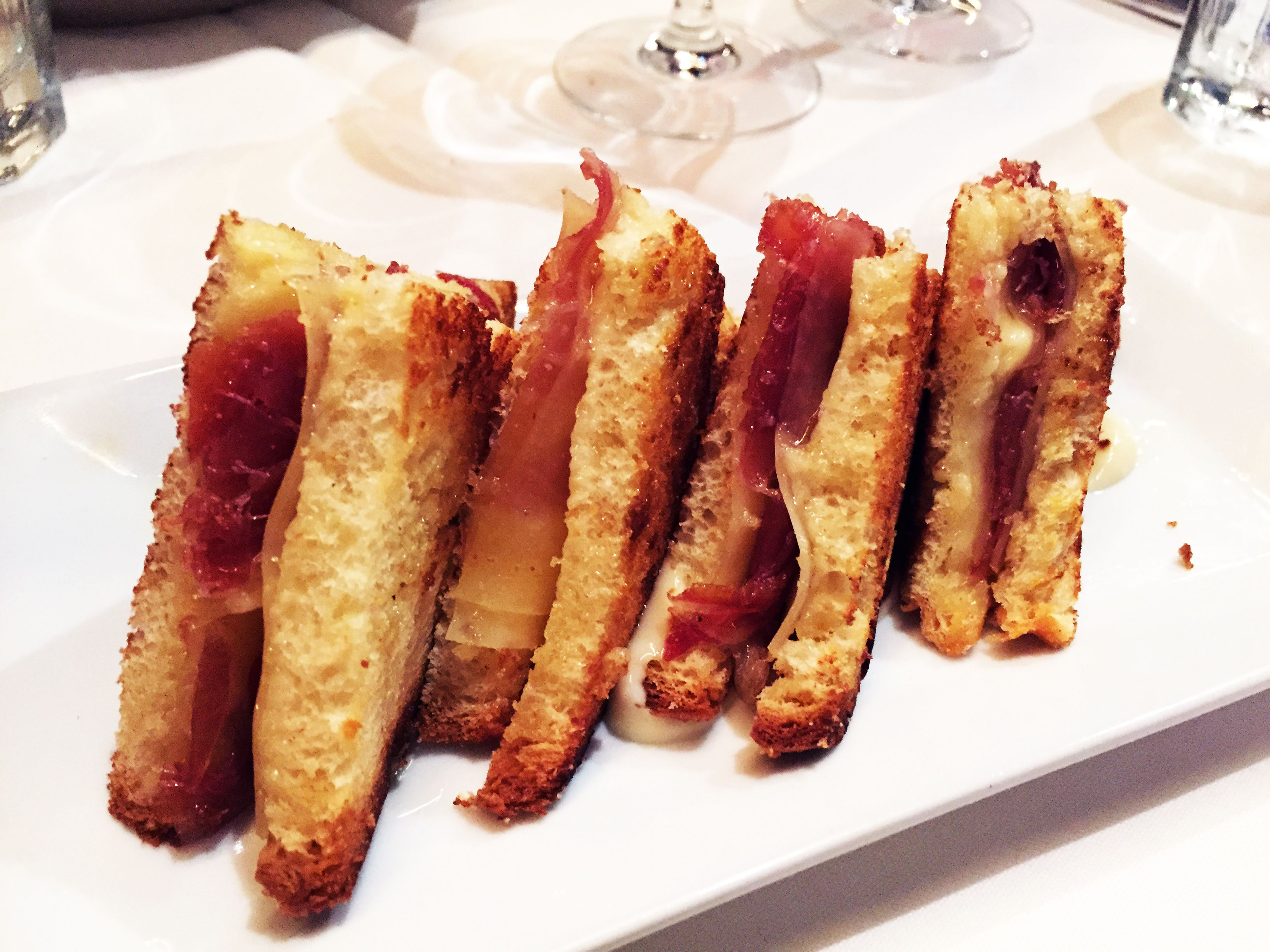 Whole New Take On Grilled Cheese With Truffled Bikini Sandwich 4 Noms From Barcelona Wine Bar A New Spanish Tapas Place Barcelona Wine Bar Food Spanish Tapas