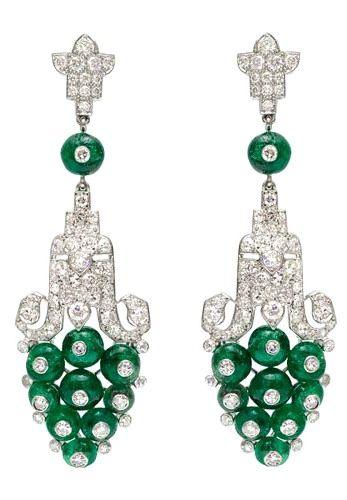 Cartier Art Deco Earrings: Jade, Platinum, Diamonds