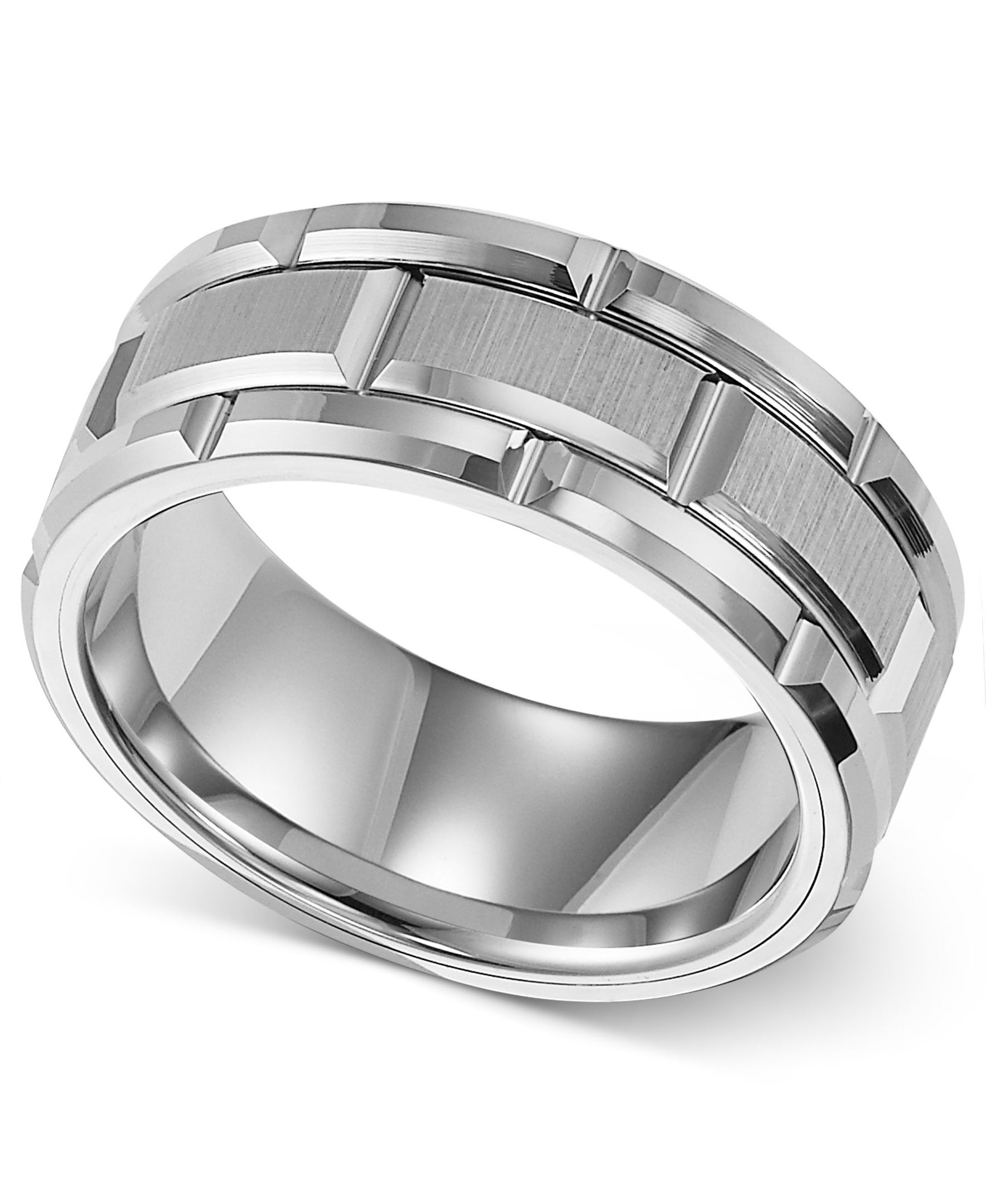 Triton Men s Ring 8mm White Tungsten Wedding Band