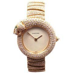 Cartier Ladies Yellow Gold Panther Panthere Diamond Emerald Bracelet Wristwatch