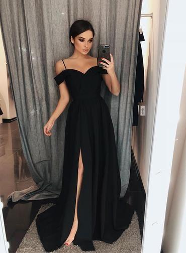 Black Chiffon Sweetheart Spaghetti Straps Side Slit Prom Dress, Long Evening Dress P2135 -   19 evening dress 2018 ideas