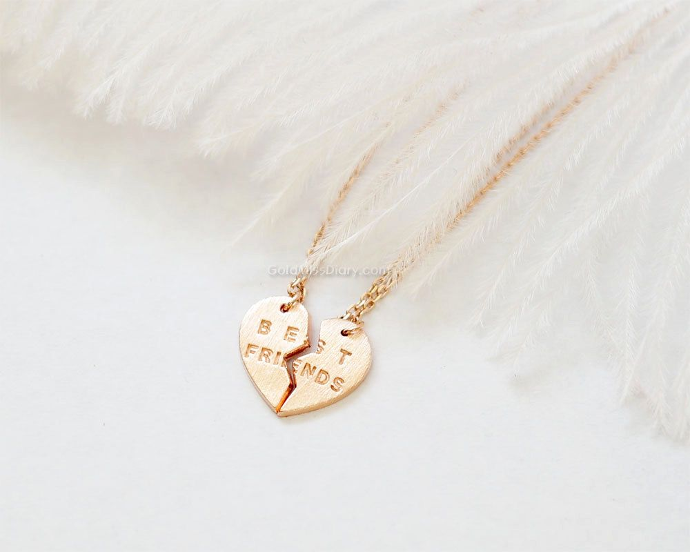 Best friends heart necklace set in rose gold best friend necklace