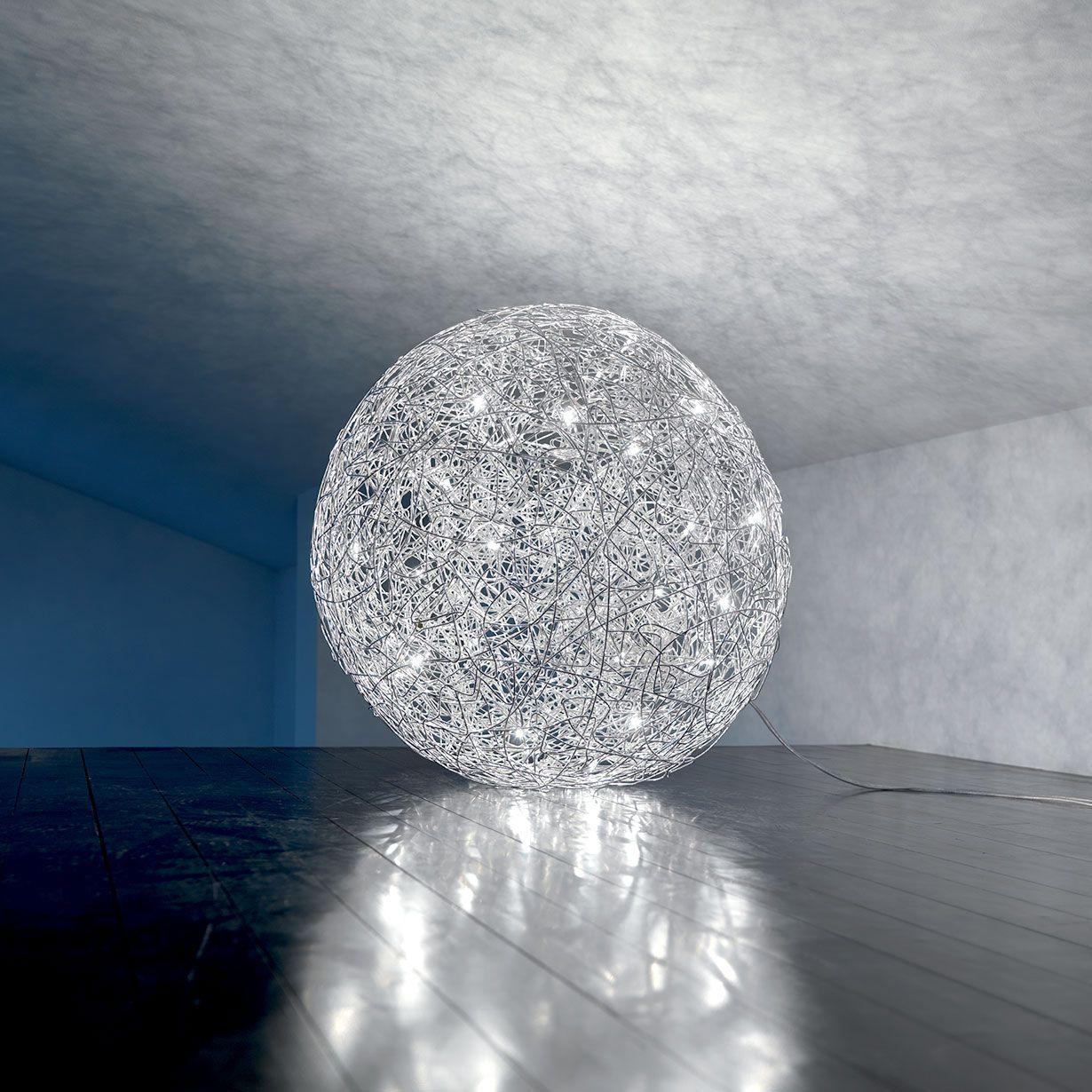 Lampada da terra sfera in filo d'alluminio, varialuce in