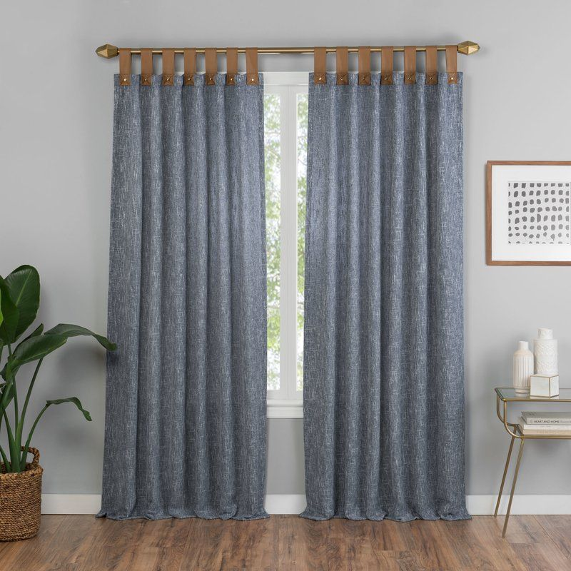 Kaufman Solid Semi Sheer Tab Top Single Curtain Panel Curtains