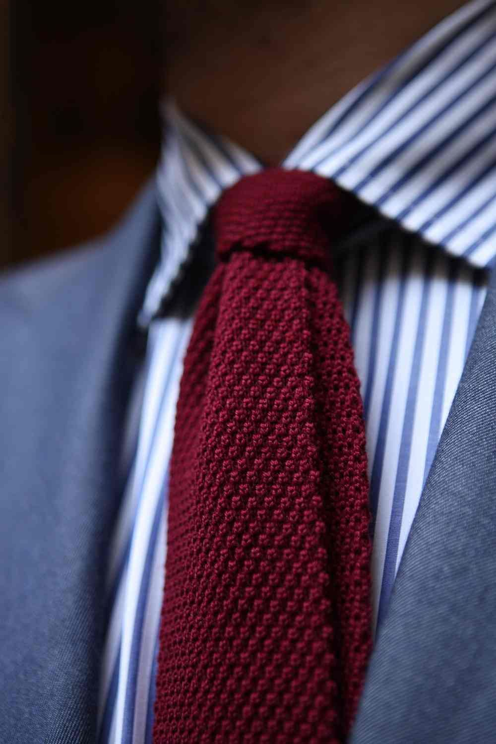 Red Wool Knitted Tie Fashion Men S