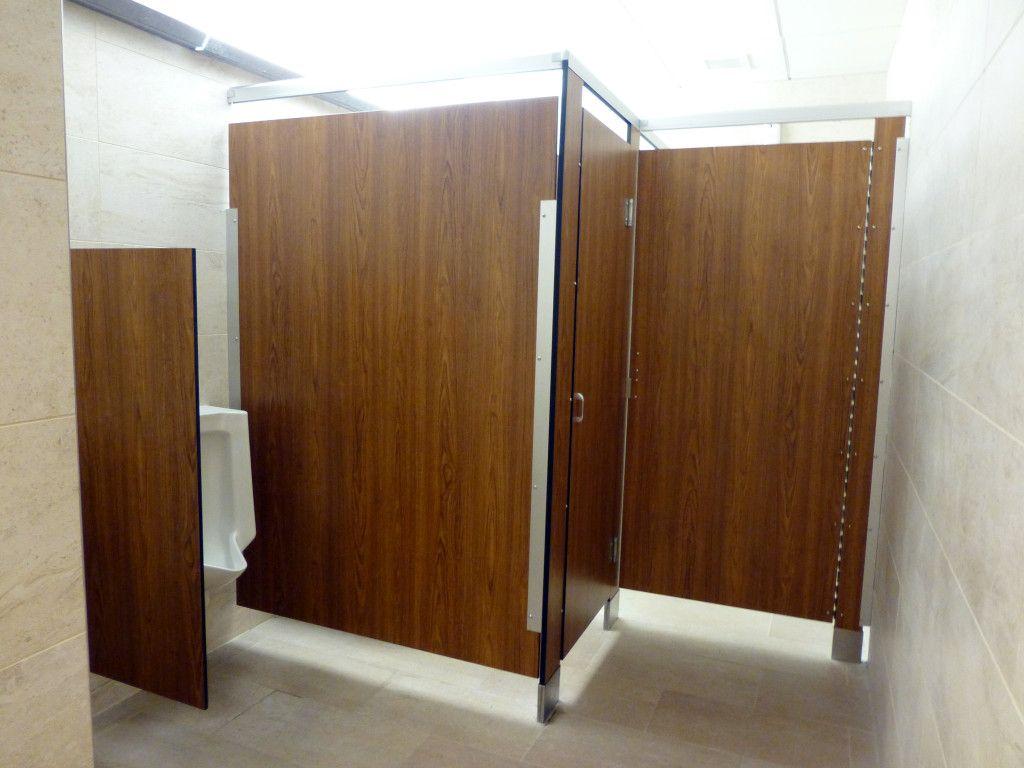 Ultimate Privacy Floor Anchored Headrail Braced Black Core Phenolic - Phenolic bathroom partitions