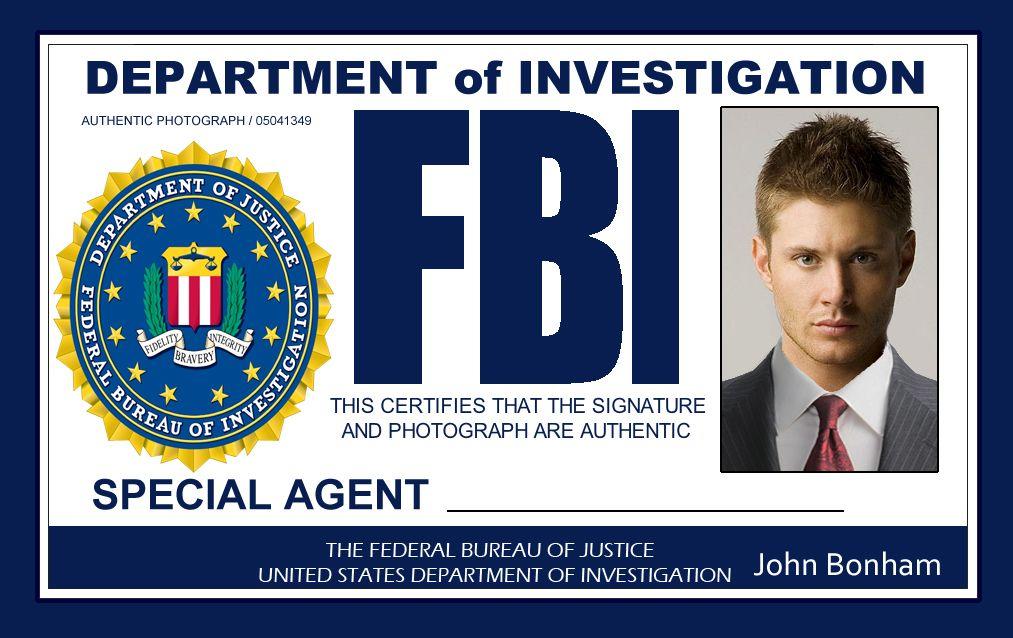 Make id 39 s for everyone at the party supernatural - Fbi badge wallpaper ...