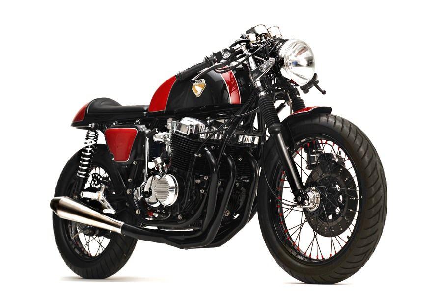 stunning red-on-black honda cb750 cafe racer | cb750 cafe racer