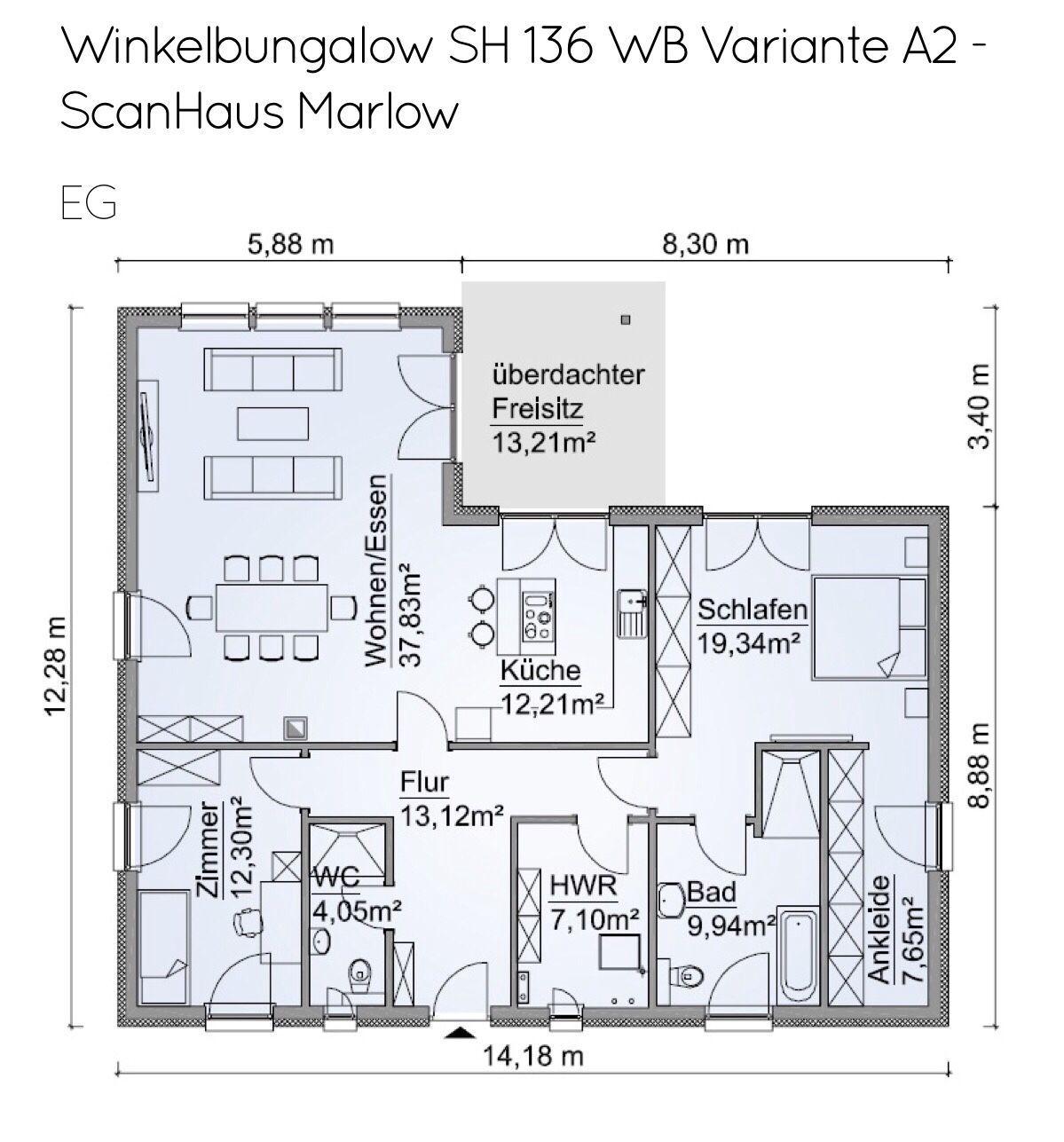 Grundriss Bungalow barrierefrei, 3 Zimmer, 125 qm