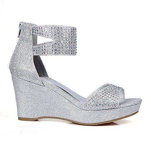 73fb1141dce38 Celeste Hedy03 Womens Wedge Party Sandals in Silver 65 M US * This ...