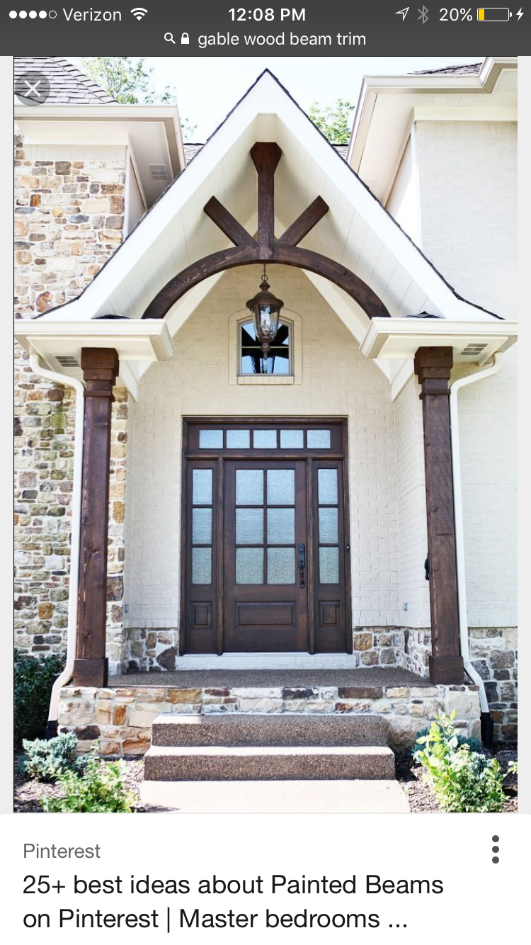 Pin by jenn b on porch portico stoop front door ideas in - Brick and wood house ...