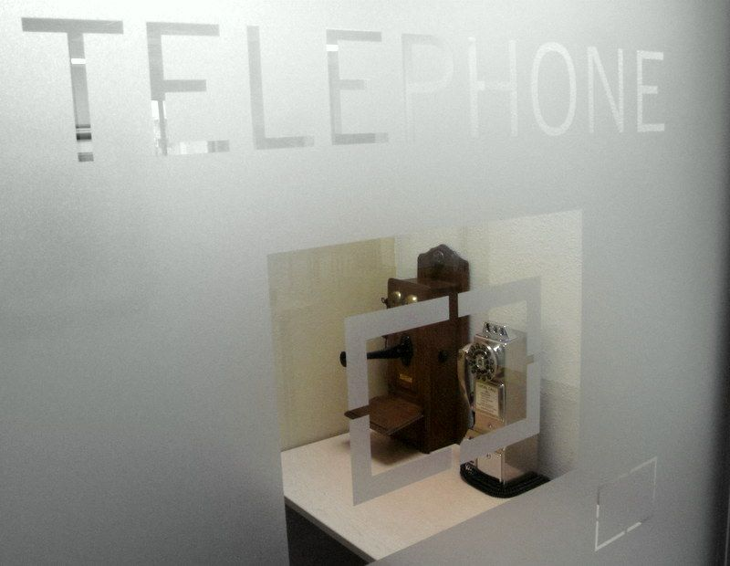 A glimpse into the telephone booth at Laptop Lounge, WC