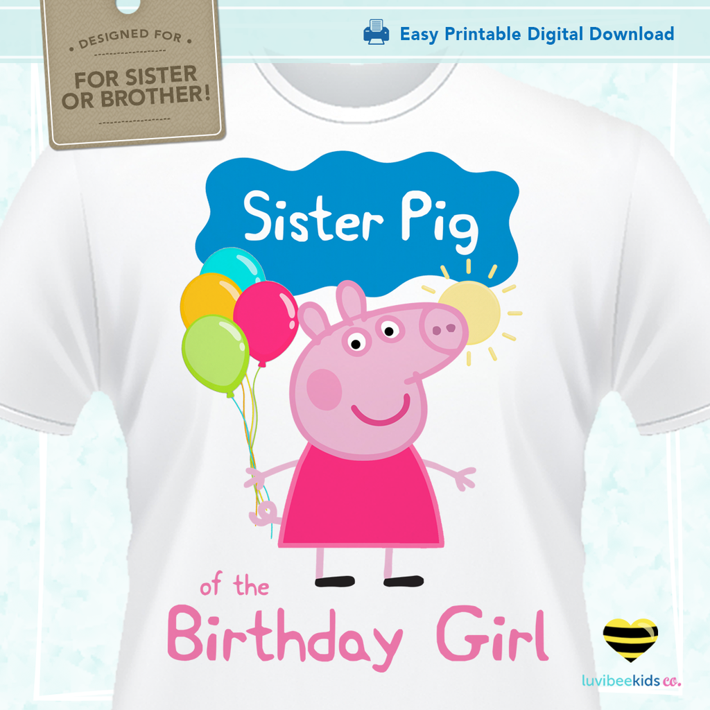 Peppa Pig Iron On Transfer Sister Pig Of The Birthday Girl Peppa