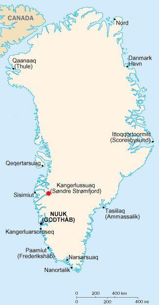 Map of GreenlandSondre Stromfjord was Sondrestrom Air Base when I