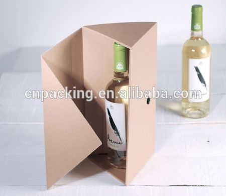 Triangle Creative Design Paper Wine Box Packaging For Two Bottles