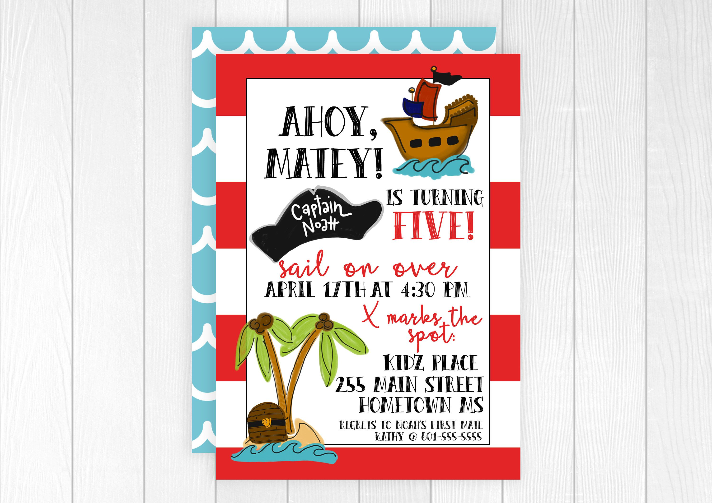 Pirate Birthday Party Invitation | Nautical Birthday Party Invite ...
