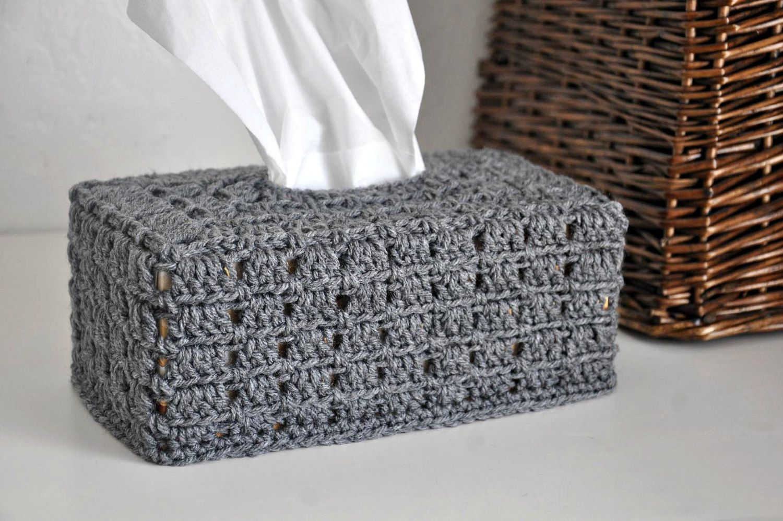 Grey tissue box cover nursery decoration home decor granny chic kleenex box cover crochet for - Decoration au crochet ...