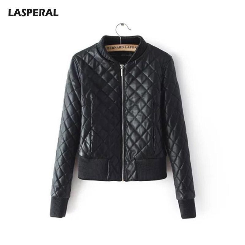 930421dfe3d30 Autumn Winter PU Leather Stand Collar Basic Jackets Women Argyle Zipper  Overcoats Female Windbreaker Bomber Coats
