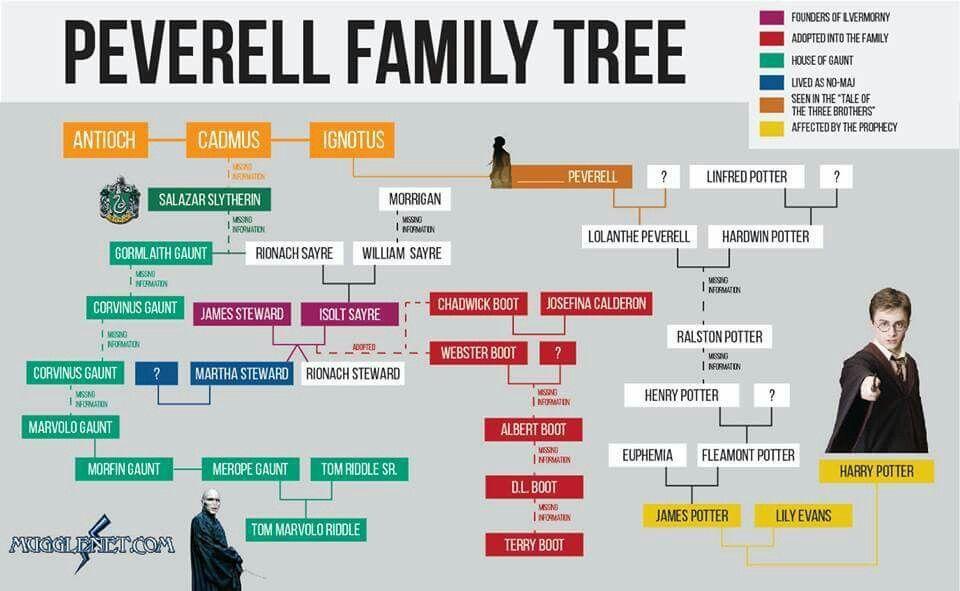 Peverell Family Tree Harry Potter Family Tree Weasley Family Tree Family Tree
