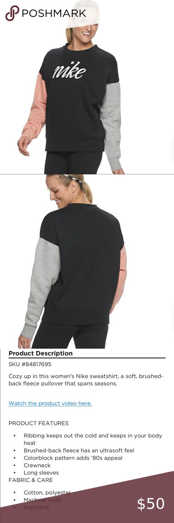 Nike Sweatshirt Nwt In 2020 Nike Women Sweatshirt Nike Sweatshirts Color Block Sweatshirt [ 1740 x 580 Pixel ]