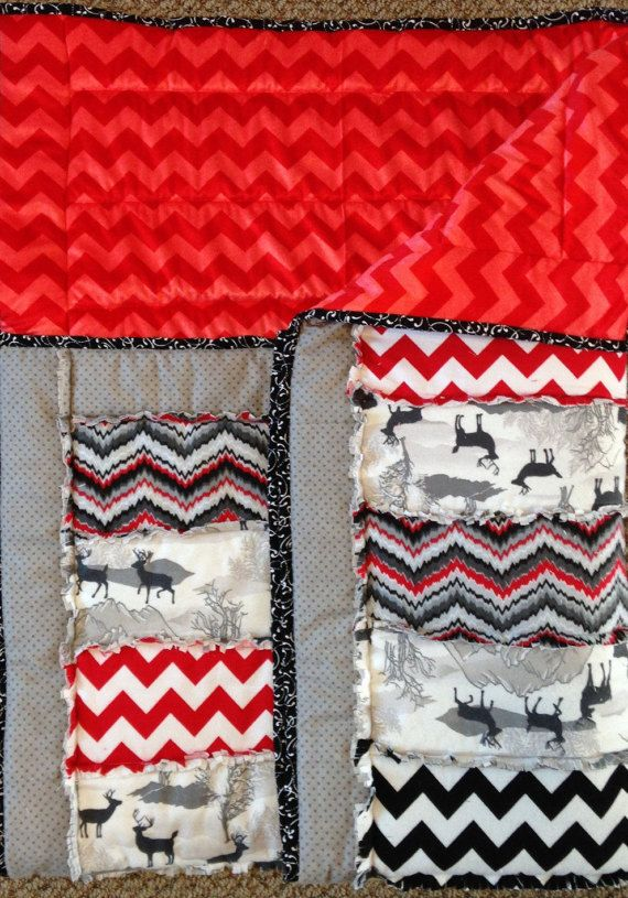 Chevron baby blanket deer flannel blanket red minky by ohSEWcuddly