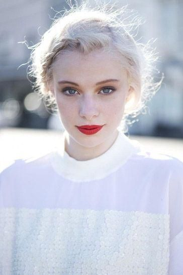 Platinum Blonde Red Lips Beauty Makeup Braid Hair Beauty