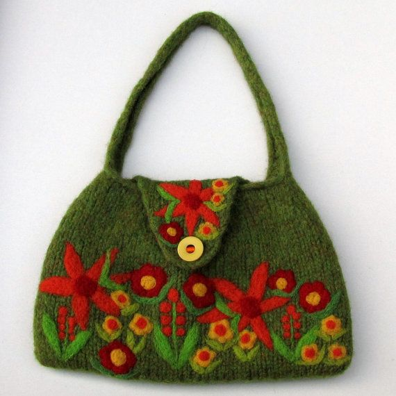 Light moss green hand knit felted bag with beautiful needle felted ...