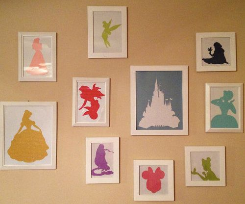 For a girl's nursery. Classy, subtle way to do a Disney Princess theme. Love!