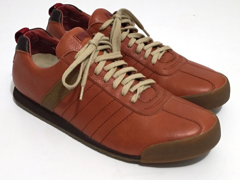 Camper Pelotas Asia Orange Brown Leather Lace Up Sneakers