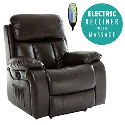 Chester Electric Heated Massage Gaming Brown Recliner Chair
