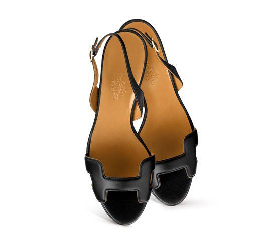 382eaab5c07 Night 70 Hermes ladies' sandal in black calfskin with tone on tone ...