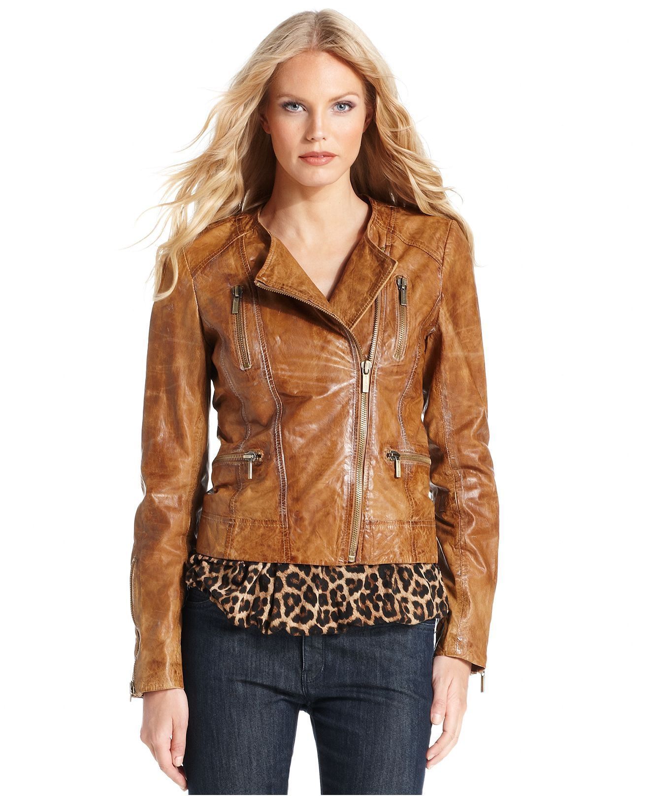 Michael Kors Jacket Distressed Leather Moto Blazer Jackets For Women Leather Jackets Women Stand Collar Jackets [ 1616 x 1320 Pixel ]