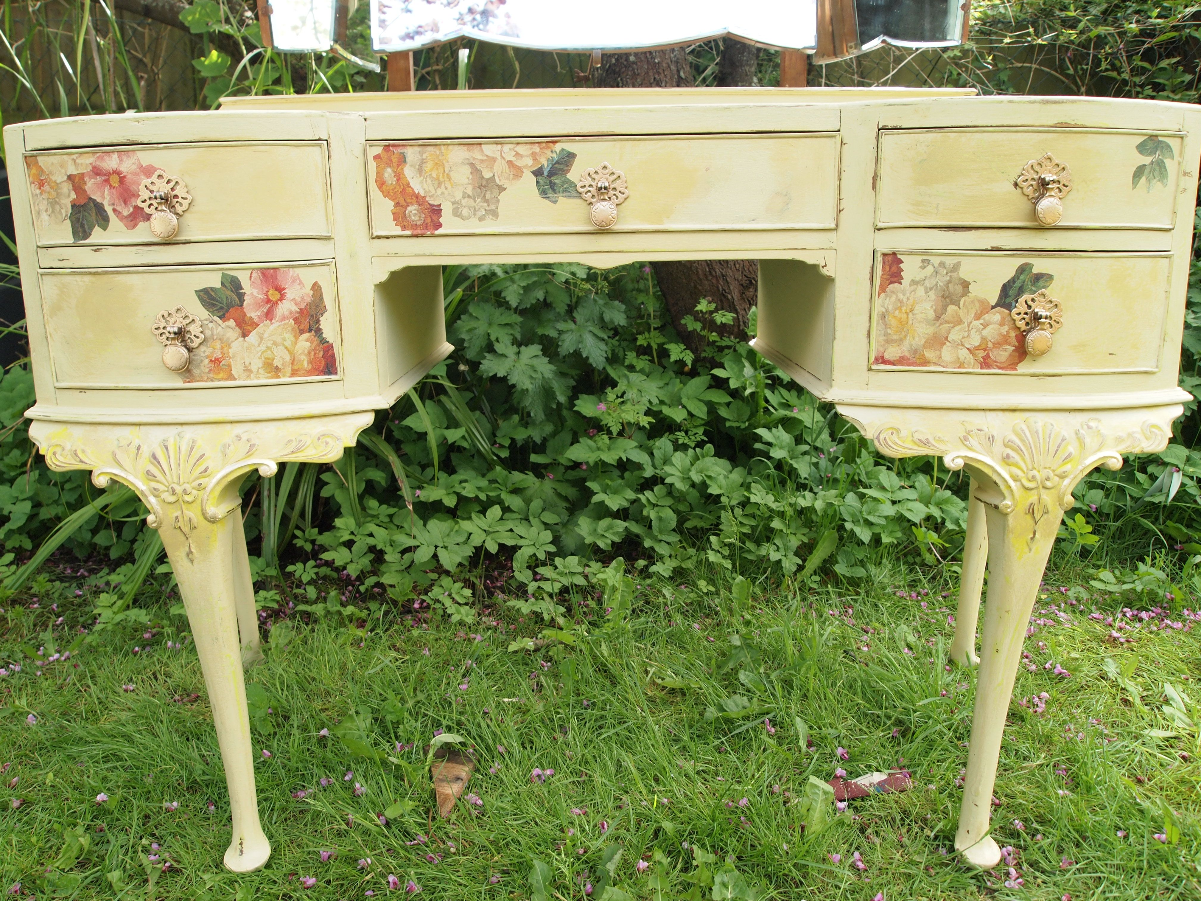 floral decoupage furniture. vintage shabby chic dressing table painted yellow distressed then decorated using floral decoupage furniture n