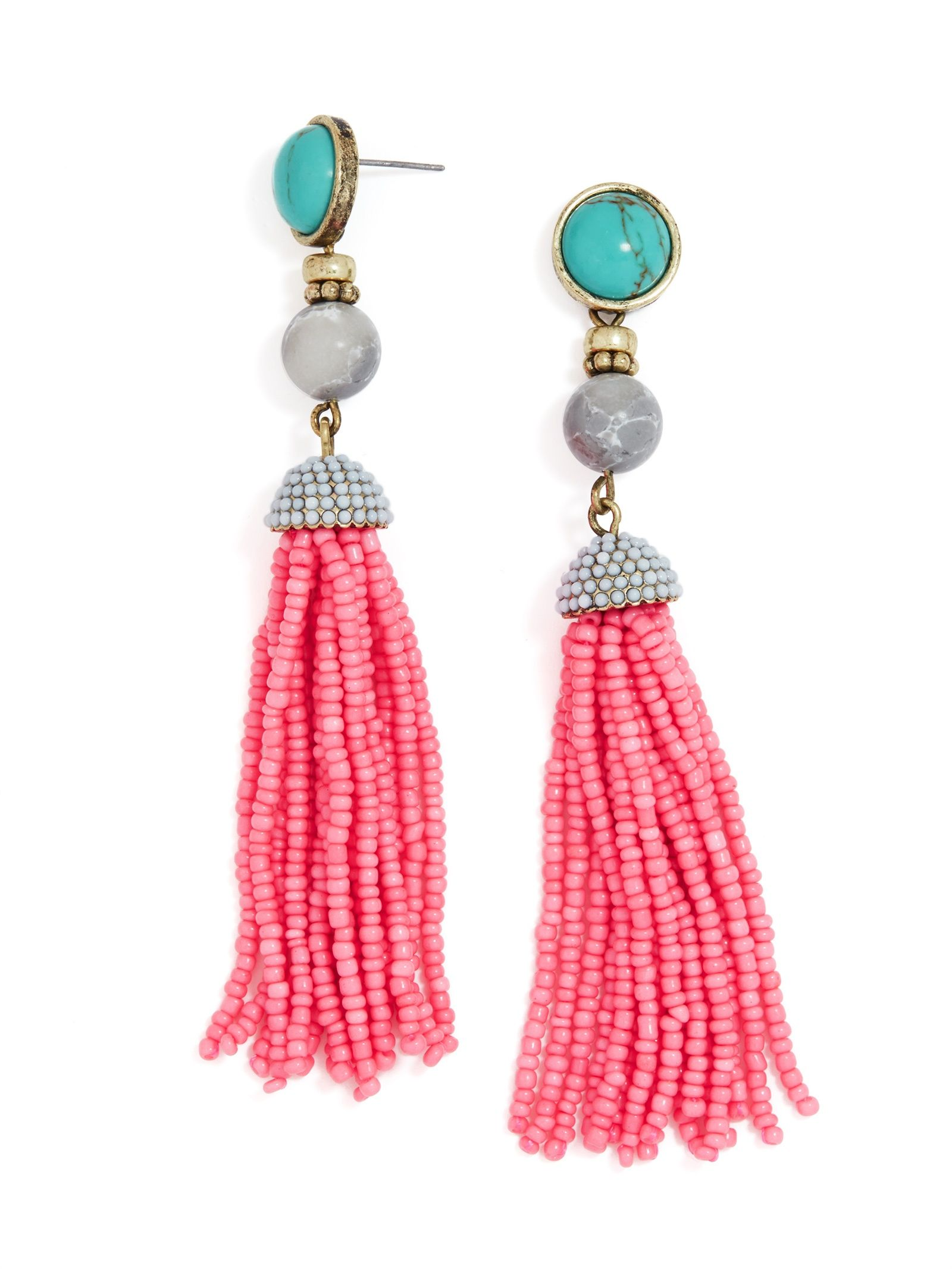 Artemis Tassel Earrings is part of Pink tassel earrings, Baublebar earrings, Pink drop earrings, Tassel drop earrings, Tassel earrings, Beaded tassel earrings - Bold beaded tassel earrings get dressed up with cabochonembellished posts  These look especially ontrend when styled with soft hues and softer fabrics  Copyright © 2016 BaubleBar, Inc