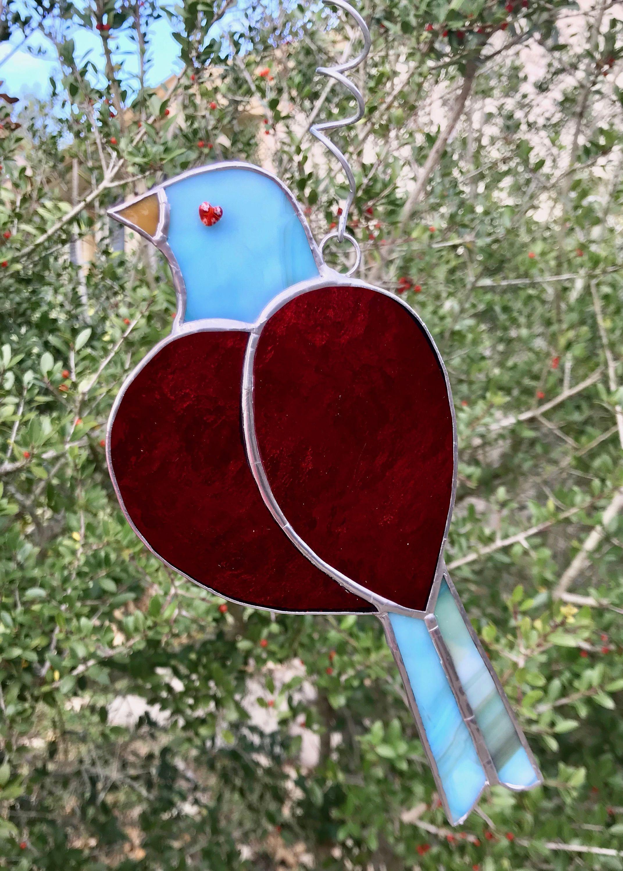 69e5aff96f6e Red Heart-Turquoise Bird Suncatcher-2 by SerenityArtworksShop on Etsy