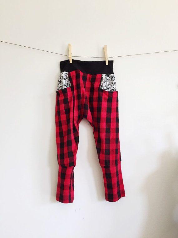 Toddler Kid Boys Harem Pants // Buffalo Print Leggings // Ninja Pants // Plaid Patterned Leggings // Hipster Kid Clothes // Modern Kid