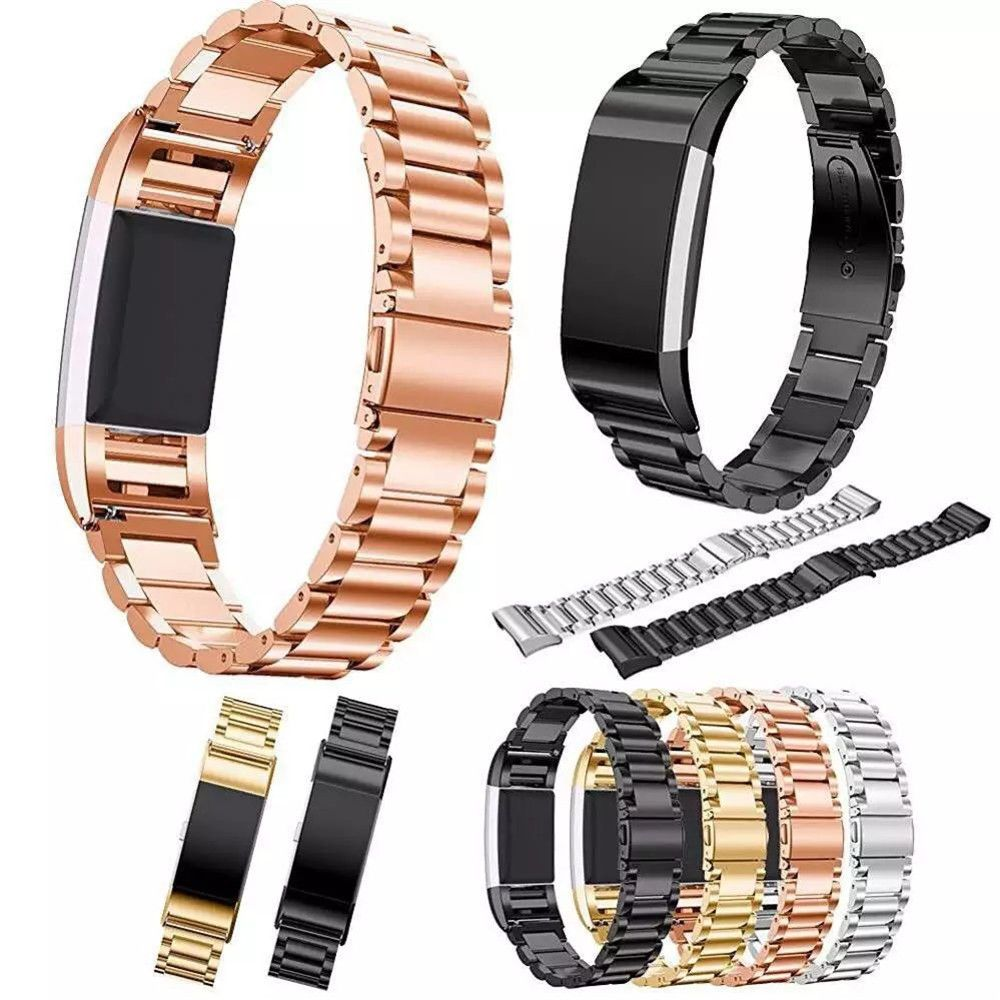 Click to buy ucuc luxury three link metal band for fitbit charge