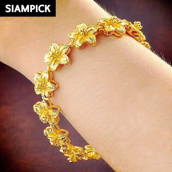 Gold Flower Bracelet Thai Jewelry 24k By Siampick