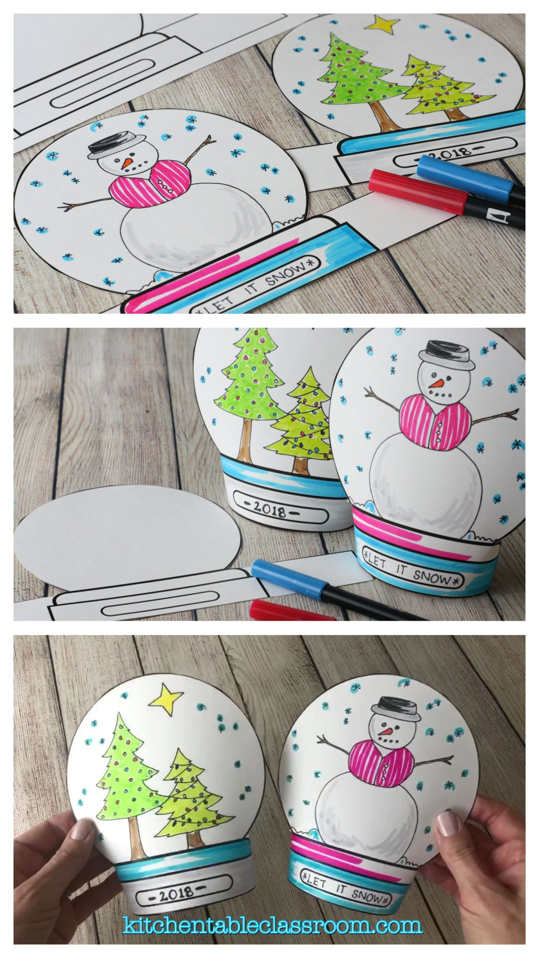 Make a Snowglobe- Print & Draw Stand-up Template - The Kitchen Table Classroom #craft