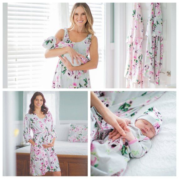 661e176639b 4 Piece Set - Olivia Floral Maternity Delivery Labor Nursing ROBE    Matching Maternity Nursing NIGHT