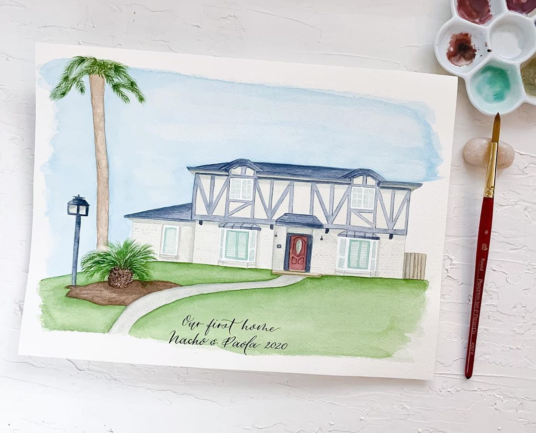 """Calligraphy, Art & Stationery on Instagram: """"💕HOME sweet home 💕 ...  #watercolor #watercolorpainting #watercolorpaint #watercolorart #watercolorillustration #watercolorhome…"""""""