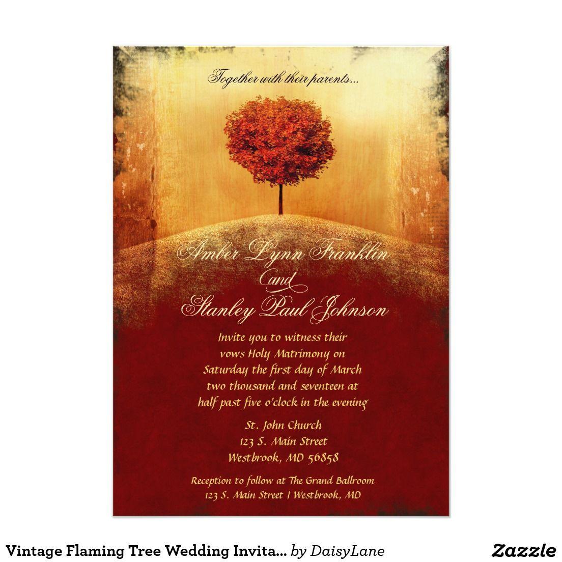 Vintage Flaming Tree Wedding Invitation | Baby invitations and Wedding