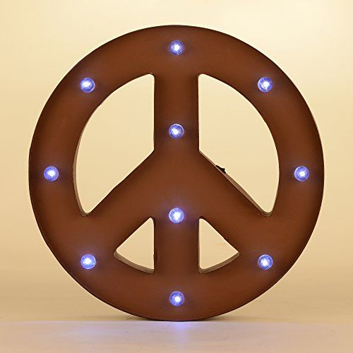 Glitzhome 1402H Marquee LED Lighted Peace Sign Battery Operated ...