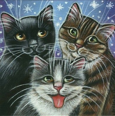 Three Kitties Xmas Snow Painting